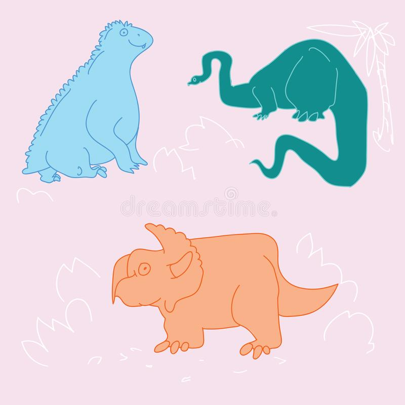 Dinos divertidos del garabato libre illustration