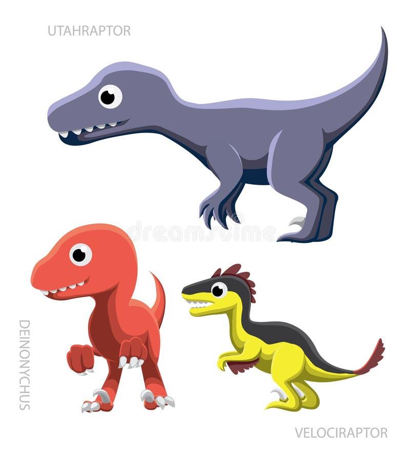 Dinosaurów ptaków drapieżnych wektoru ilustracja royalty ilustracja