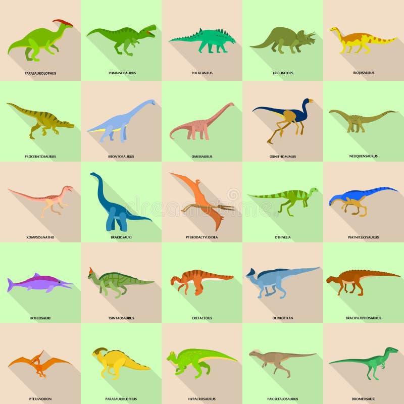 Dinosaurów typ podpisywać imię ikony ustawiać, mieszkanie styl ilustracja wektor