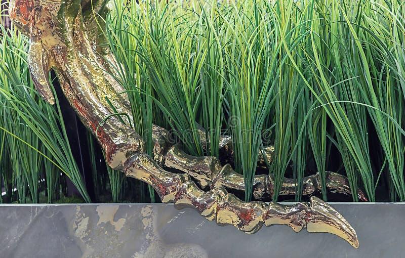 Dinosaur łapy zredukowany złoto matrycujący Łapa dinosaur na zielonej trawie fotografia stock