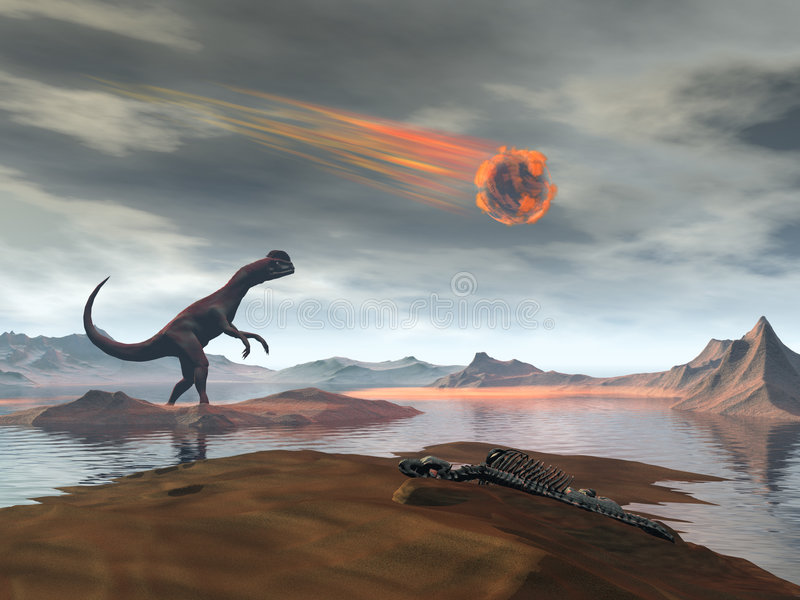 Dinosaur. And asteroid 3d rendered image