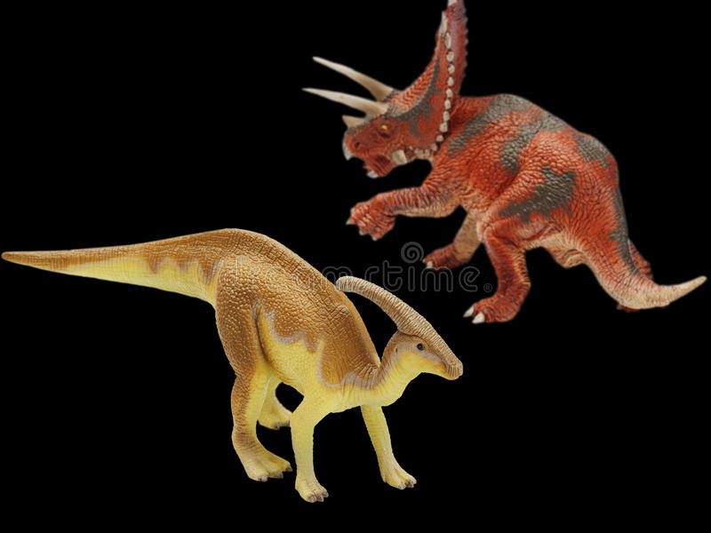 Dinosaur. Action in black background royalty free stock photography