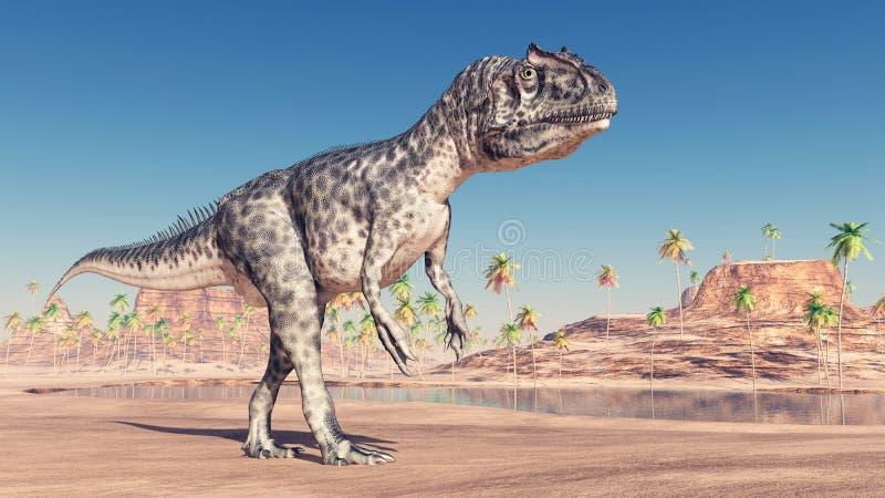 Dinosaur Allosaurus. Computer generated 3D illustration with the dinosaur Allosaurus vector illustration