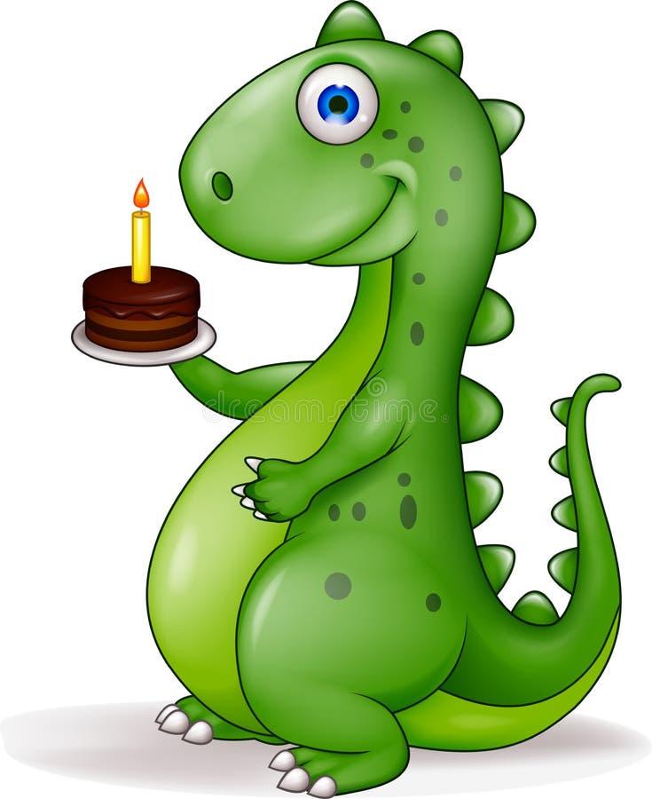 Dinosaur avec le gâteau d'anniversaire illustration de vecteur