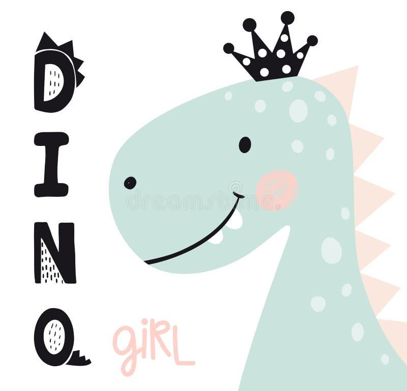 Free Dinosaur Baby Girl Cute Print. Sweet Princess With Bow. Dino Girl Slogan Royalty Free Stock Photography - 125329987