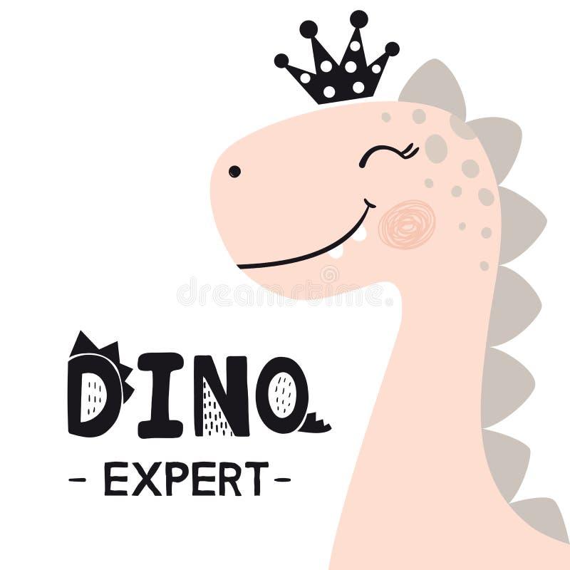 Free Dinosaur Baby Girl Cute Print. Sweet Princess With Crown. Dino Expert Slogan. Royalty Free Stock Photo - 125329985
