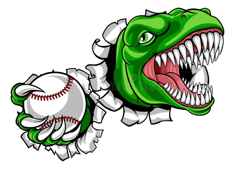 Dinosaur Baseball Player Animal Sports Mascot royalty free illustration