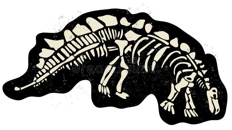 Dinosaur bones. Illustration of dinosaur skeleton buried in the ground vector vector illustration