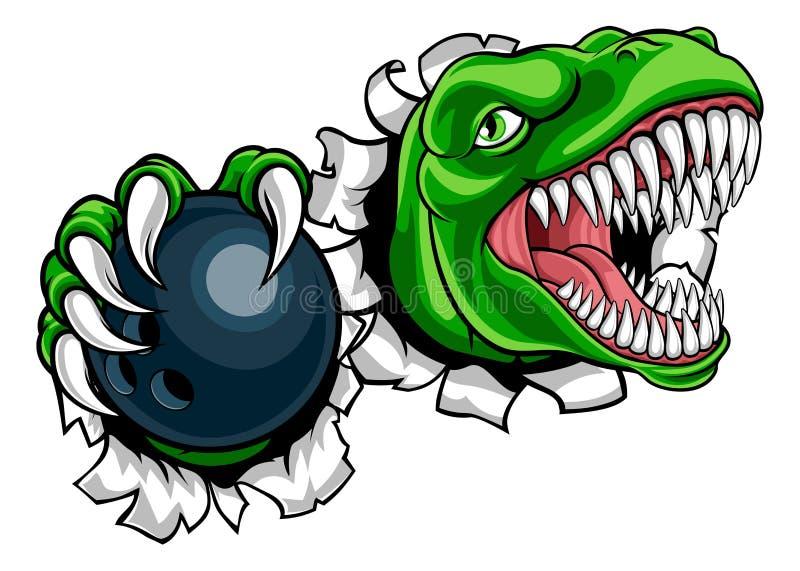 Dinosaur Bowling Player Animal Sports Mascot stock illustration