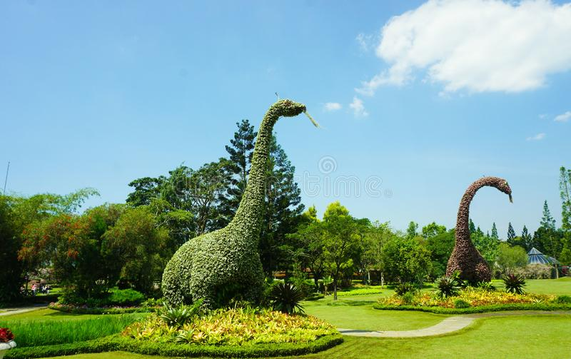 Dinosaur brontosaurus big statue made from green leaf plant and tree bush - bogor indonesia. Dinosaur brontosaurus big statue made from green leaf plant and tree royalty free stock image