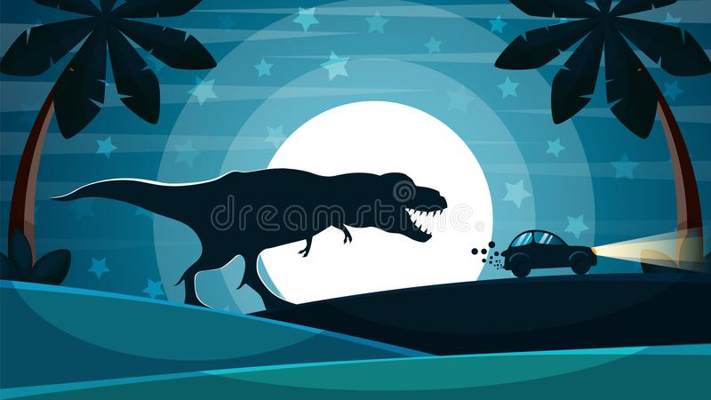 Dinosaur is after the car. vector illustration