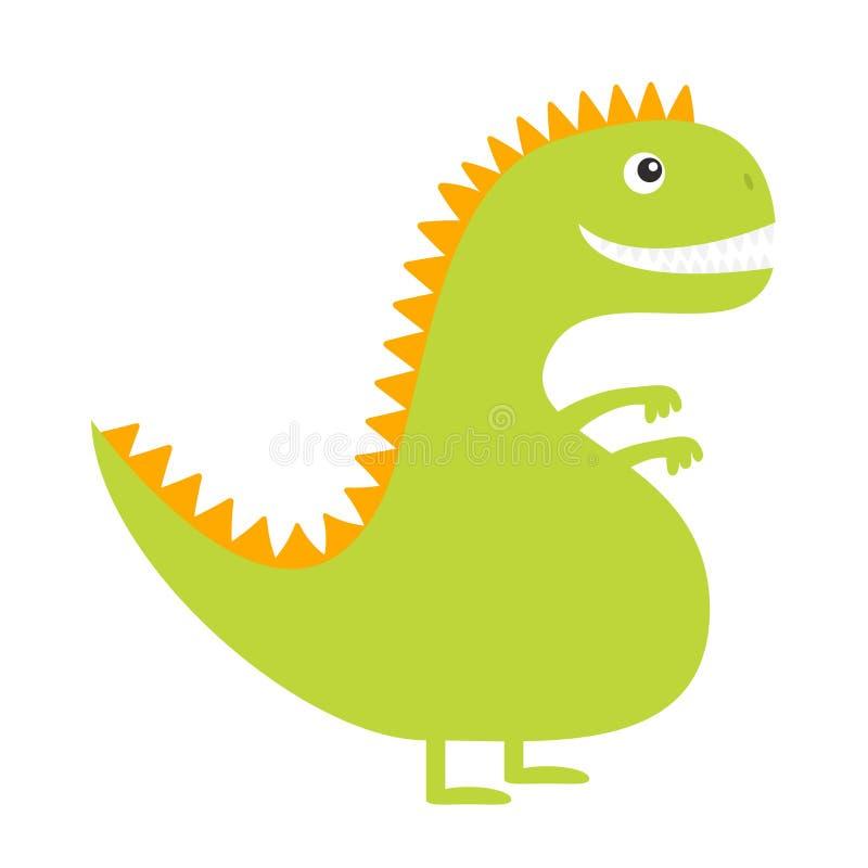 dinosaur Carattere divertente del bambino di Dino del fumetto sveglio Progettazione piana Colore verde e giallo Priorità bassa bi illustrazione vettoriale