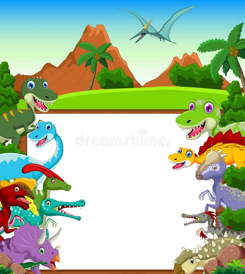 Dinosaur cartoon with landscape background and blank sign vector illustration