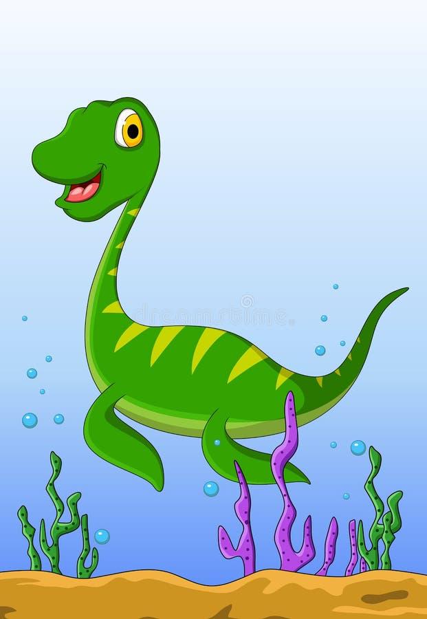 Dinosaur cartoon on the water royalty free illustration