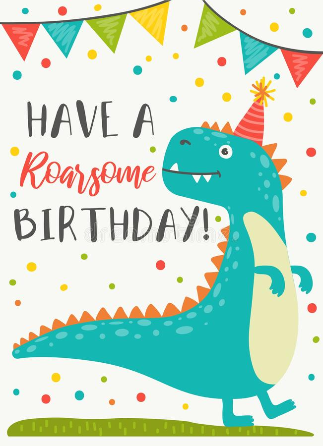 Dinosaur character Happy Birthday greeting card. Vector illustration. Invitation decorated by confetti and funny animal in festive hat. Holiday postcard with vector illustration