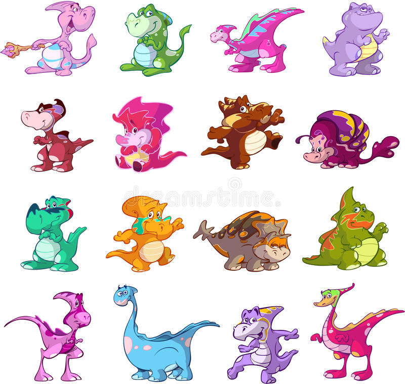 Download Dinosaur character set stock vector. Image of colorful - 12736300