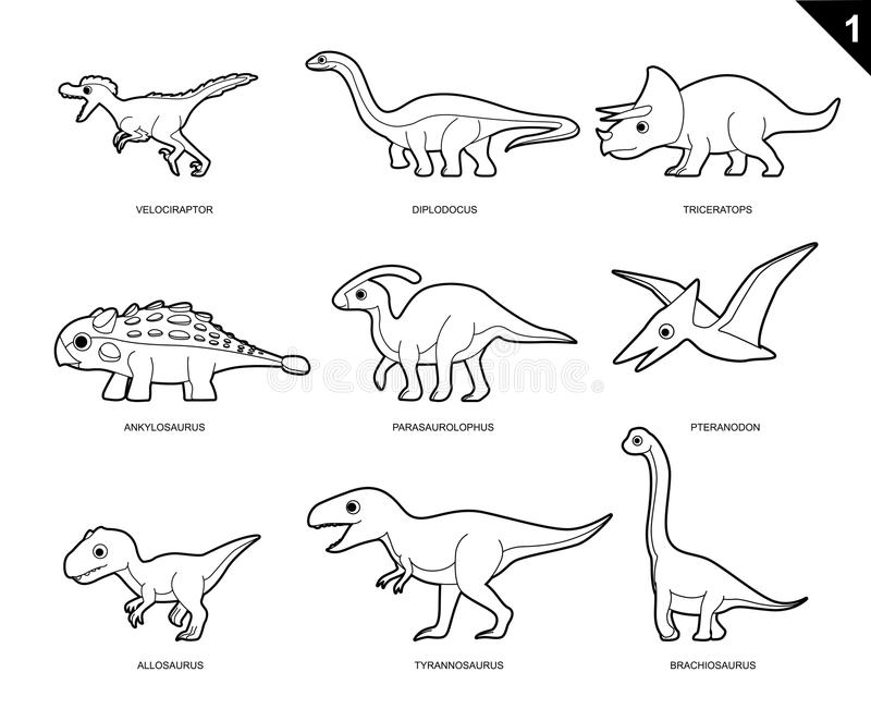 Dinosaur Coloring Book Cartoon Vector Illustration Set 1 Stock ...
