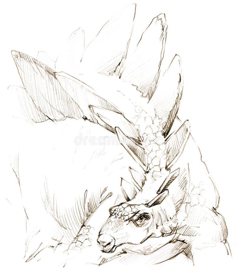dinosaur croquis de crayon de dessin de dinosaure illustration stock