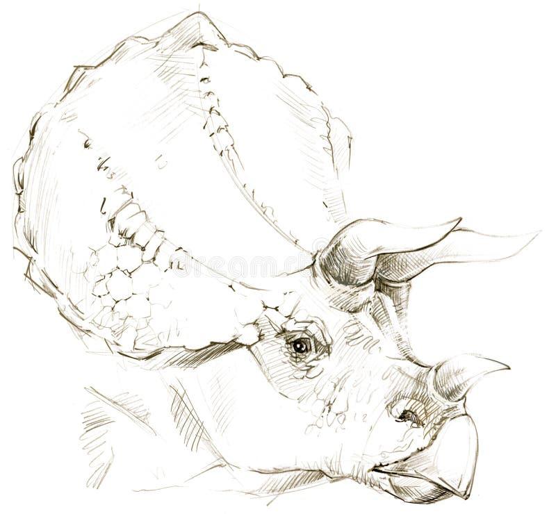 dinosaur croquis de crayon de dessin de dinosaure illustration de vecteur