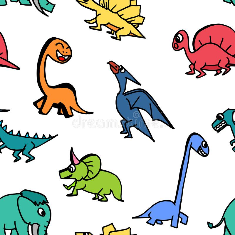 Dinosaur cute seamless drawing contour for kids and children. royalty free illustration
