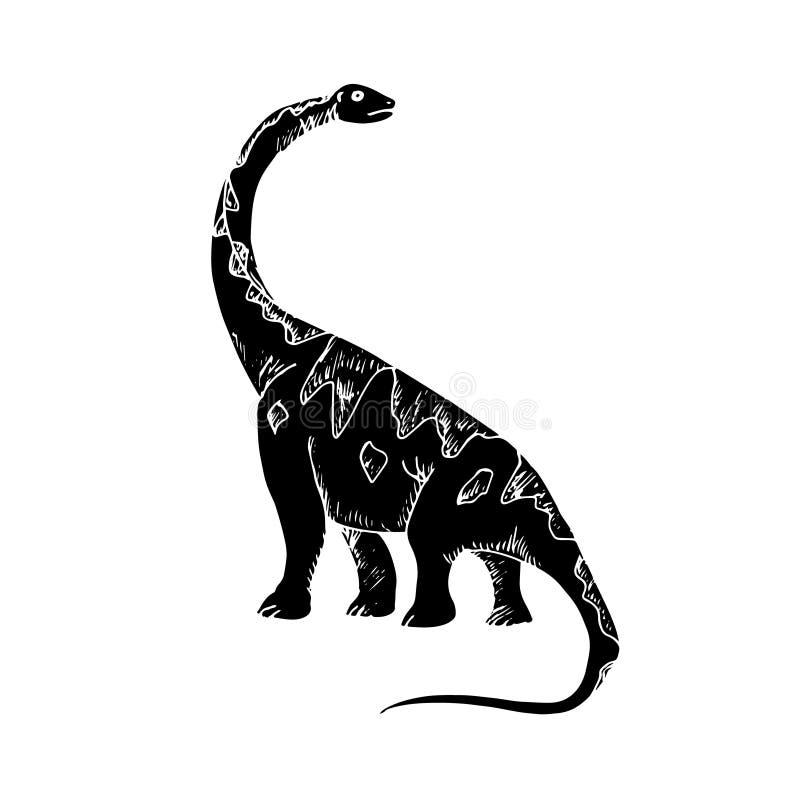 Dinosaur czarna sylwetka royalty ilustracja
