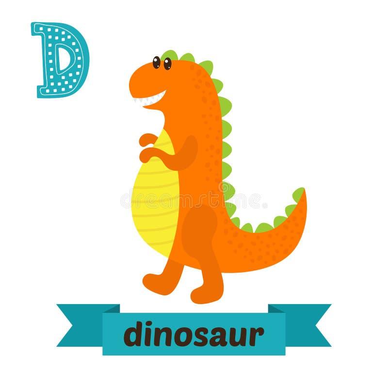 dinosaur D-bokstav Djurt alfabet för gulliga barn i vektor Gyckel vektor illustrationer