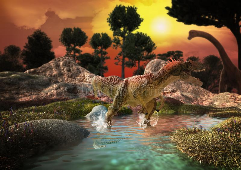 Dinosaur 3D render. Fantasy Landscape with dinosaur, 3d rendered landscape with mountains royalty free stock photo