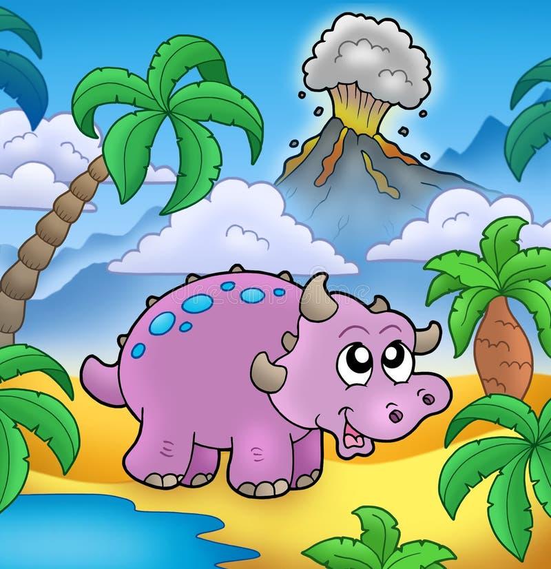 Dinosaur de dessin animé avec le volcan illustration libre de droits