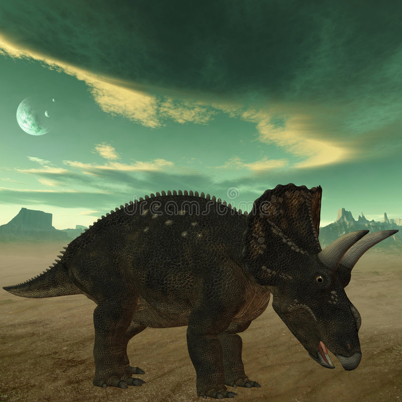 Dinosaur de Diceratops-3D illustration de vecteur