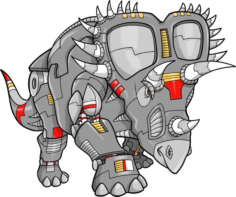 Dinosaur de Triceratops de machine de robot illustration de vecteur