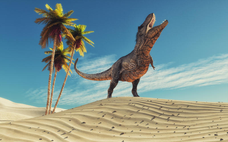 Dinosaur in desert thirsty. This is a 3d redner illustration stock photo
