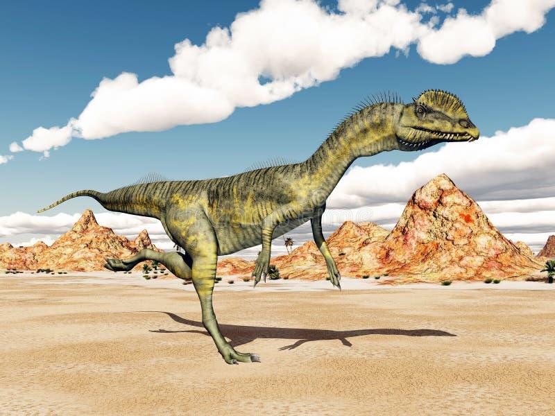 Dinosaur Dilophosaurus. Computer generated 3D illustration with the Dinosaur Dilophosaurus stock illustration