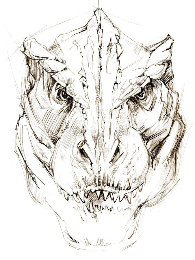 dinosaur dinosaurieteckningsblyertspennan skissar vektor illustrationer