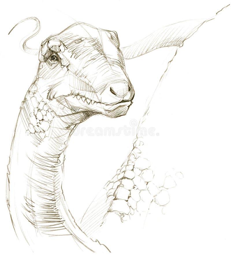 dinosaur dinosaurieteckningsblyertspennan skissar royaltyfri illustrationer