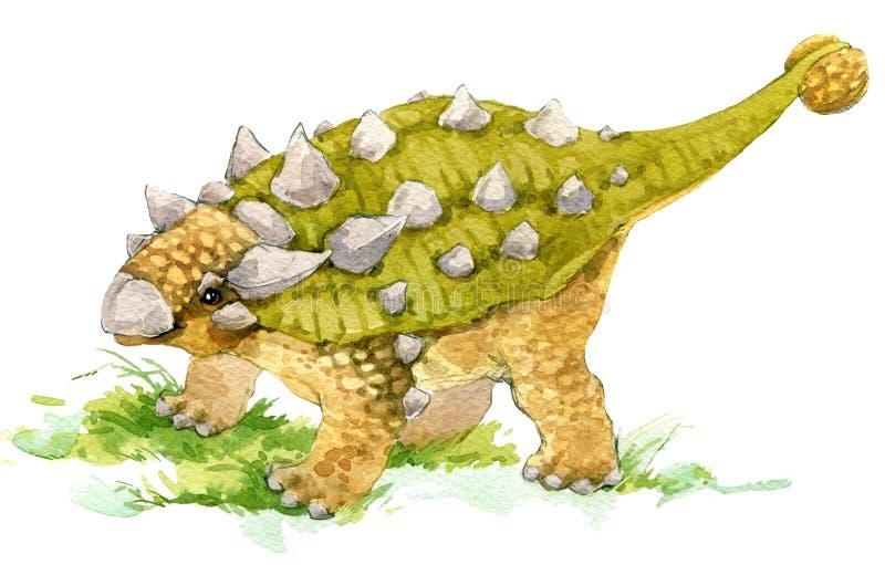dinosaur Dinosaurievattenfärgteckning Dinosaurieillustration vektor illustrationer