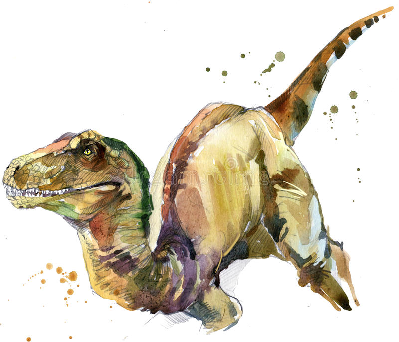 Dinosaur drawing watercolor. Ancient dinosaur extinct animal illustration. Dinosaur sketch background stock illustration