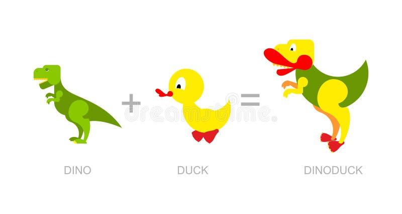 Dinosaur and duck. Dino-Duck - new species of dinosaurs. Cross stock illustration