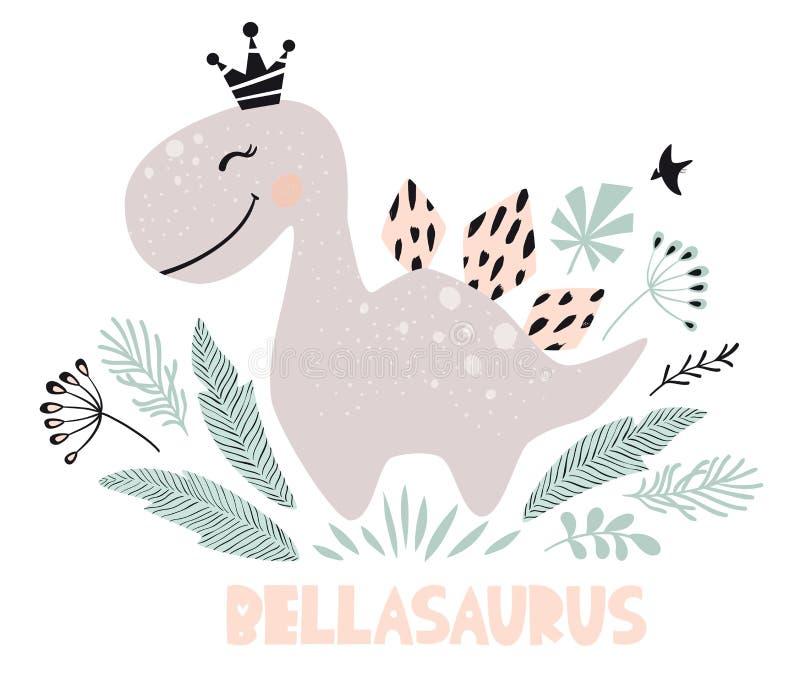 Dinosaur dziewczynki śliczny druk Słodki Dino princess z koroną Chłodno stegozaur ilustracja ilustracji