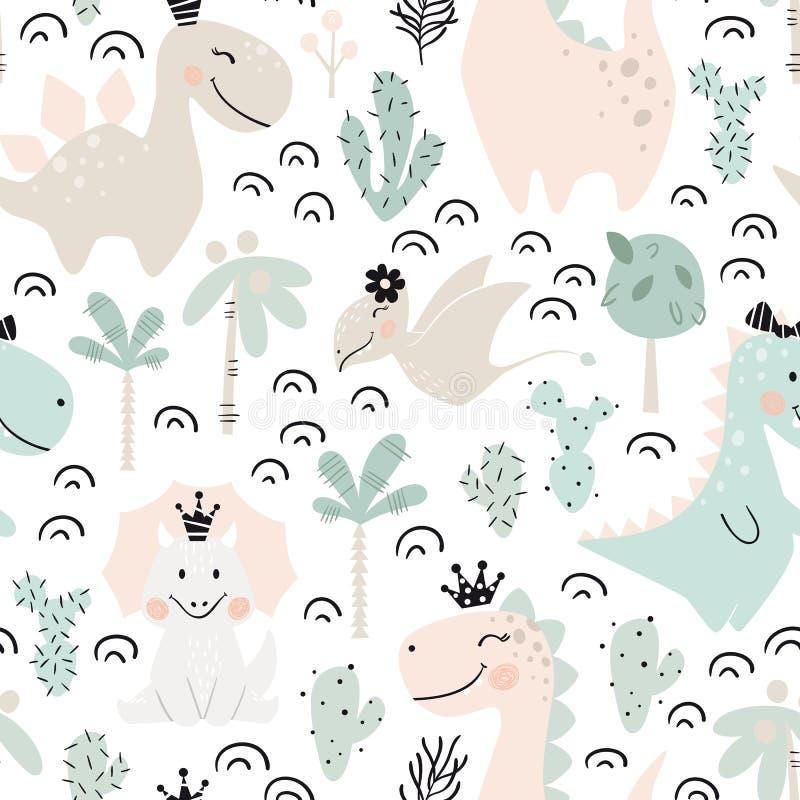 Dinosaur dziewczynki bezszwowy wzór Słodki Dino princess z koroną Skandynawski śliczny druk royalty ilustracja
