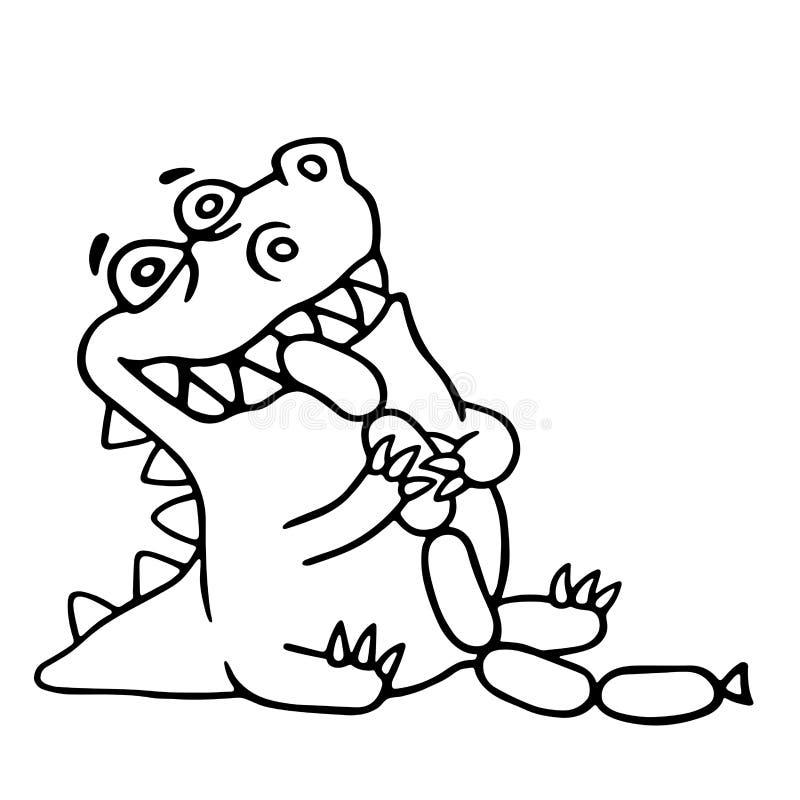 Dinosaur eats sausages. Isolated vector illustration. vector illustration