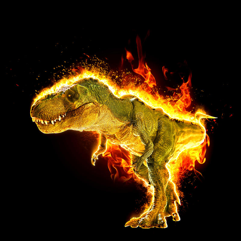Dinosaur. On effect in black background royalty free stock photo