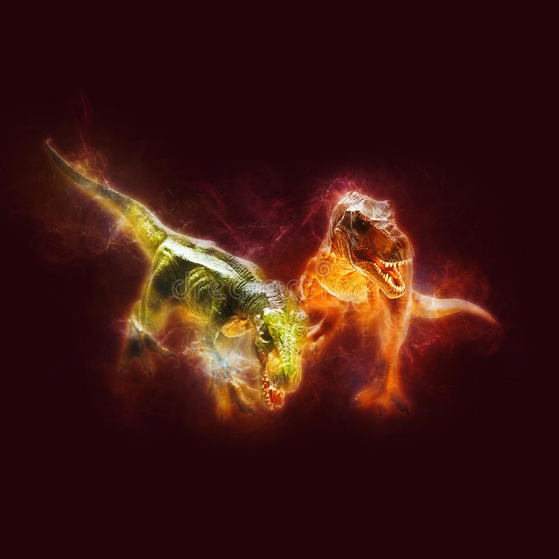 Dinosaur. On effect in black background royalty free stock images