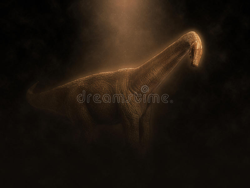 Dinosaur. On effect in black background stock images