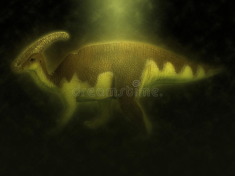 Dinosaur. On effect in black background royalty free stock image