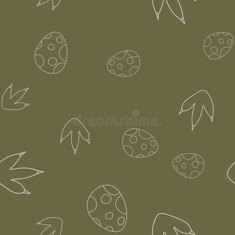 Dinosaur egg and footprint seamless pattern vector illustration