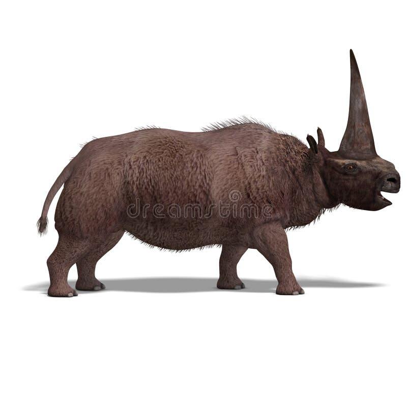 Dinosaur Elasmotherium illustration stock