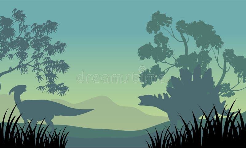 Dinosaur eoraptor and stegosaurus silhouette vector illustration