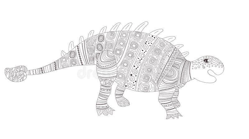 dinosaur Färga sidan för barn- och vuxen människavektor cartoon Isolerad konst vektor illustrationer