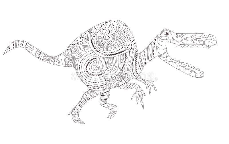 dinosaur Färga sidan för barn- och vuxen människavektor cartoon Isolerad konst stock illustrationer