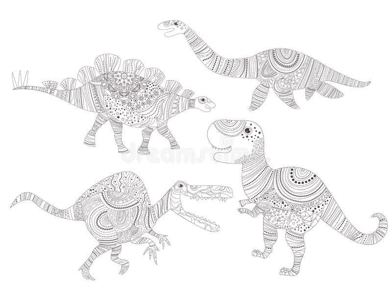 dinosaur Färga sidan för barn- och vuxen människavektor cartoon isolerat vektor illustrationer